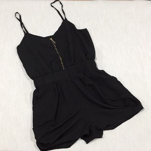 Lucca Couture Zipup Black Romper